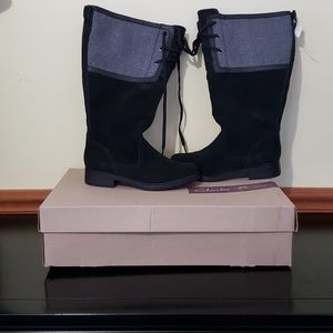 CLARKS BLACK GREY WOOL TALL BOOT LACE 8 39 NEW